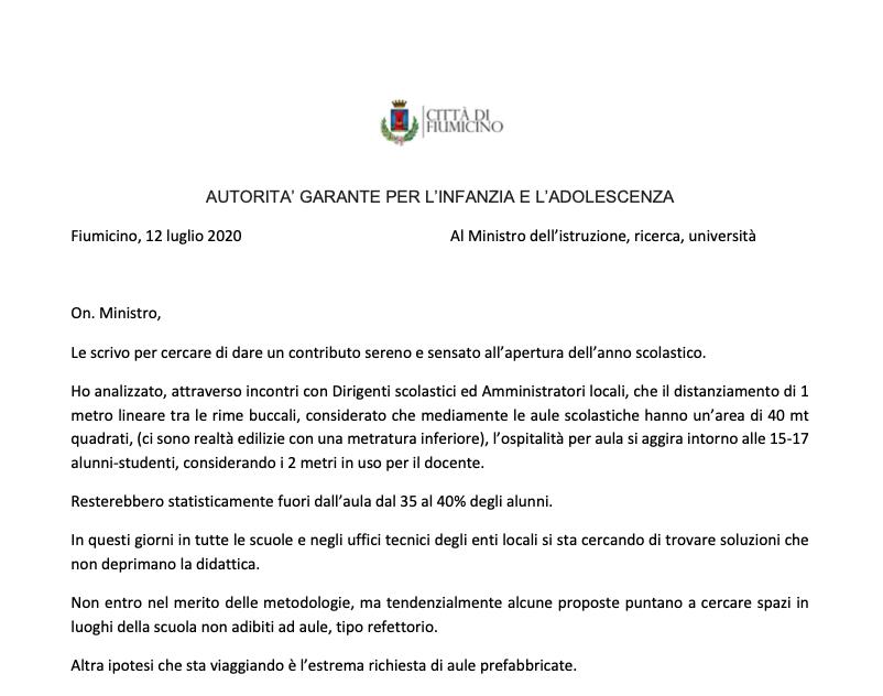 Fiumicino: riapertura scuole. Il Garante per l'infanzia scrive al Ministro 1