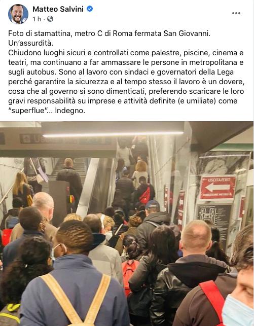 Assembramenti sulla Metro. Salvini attacca il governo: «È una situazione assurda» 1