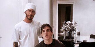 Nicolò Zaniolo con il barbiere Emanuele Pagnanelli