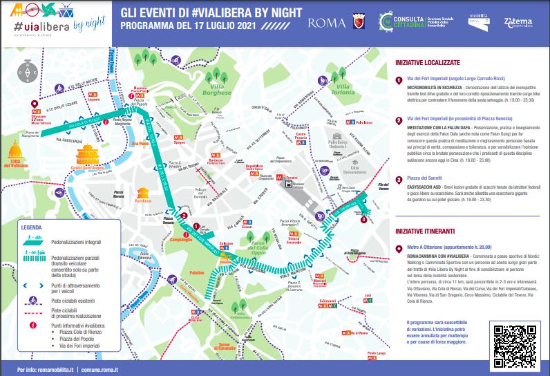 Roma, largo a ciclisti e pedoni: strade chiuse al traffico notturno con #Vialibera 1