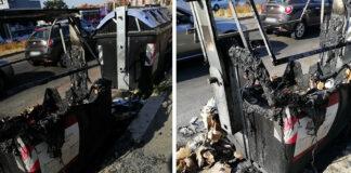cassonetti bruciati via delle azzorre