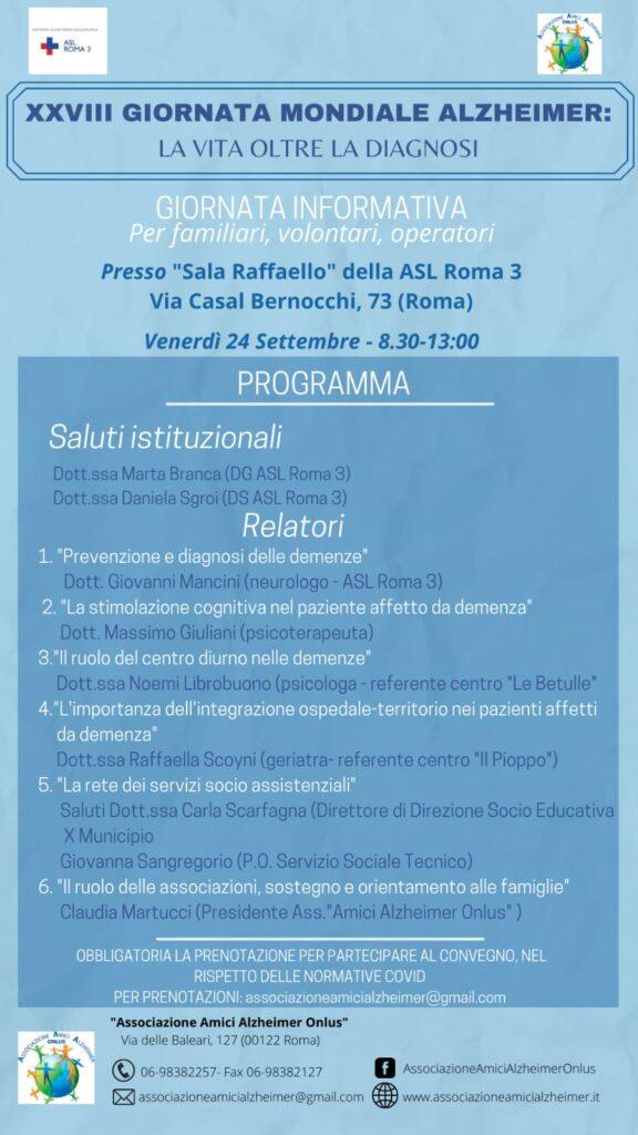 Asl Roma 3 e Amici Alzheimer, insieme alle famiglie nella giornata mondiale dedicata alla patologia 1