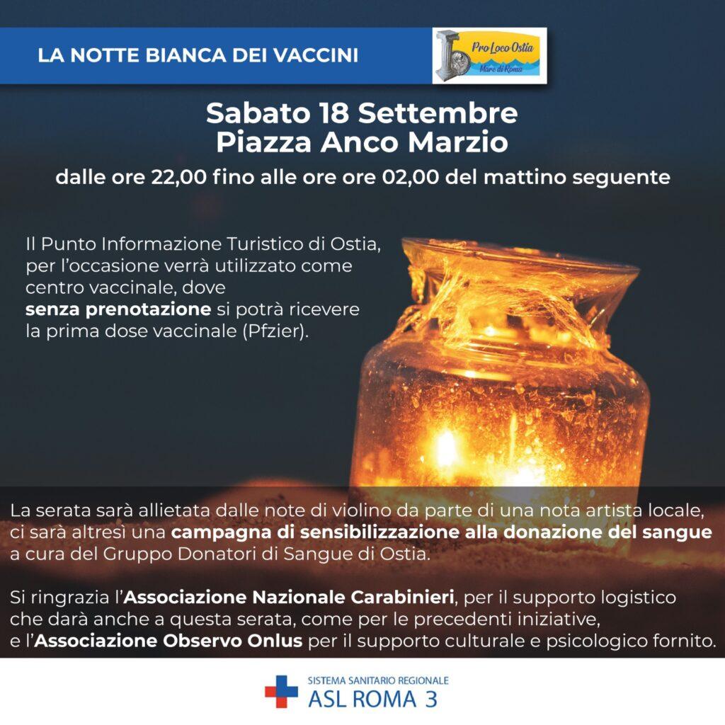 """Asl Roma 3: sabato 18 settembre """"Notte Bianca dei Vaccini"""", senza prenotazione 1"""