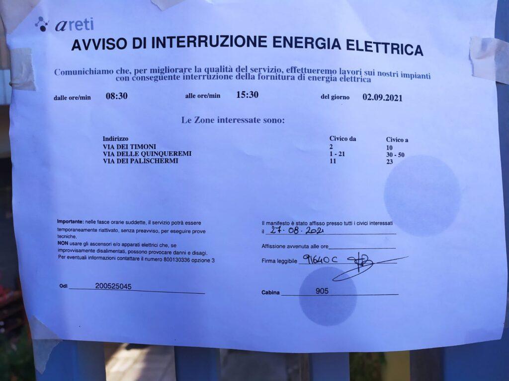 Ostia, sospensione di energia elettrica: ecco quando e dove 1