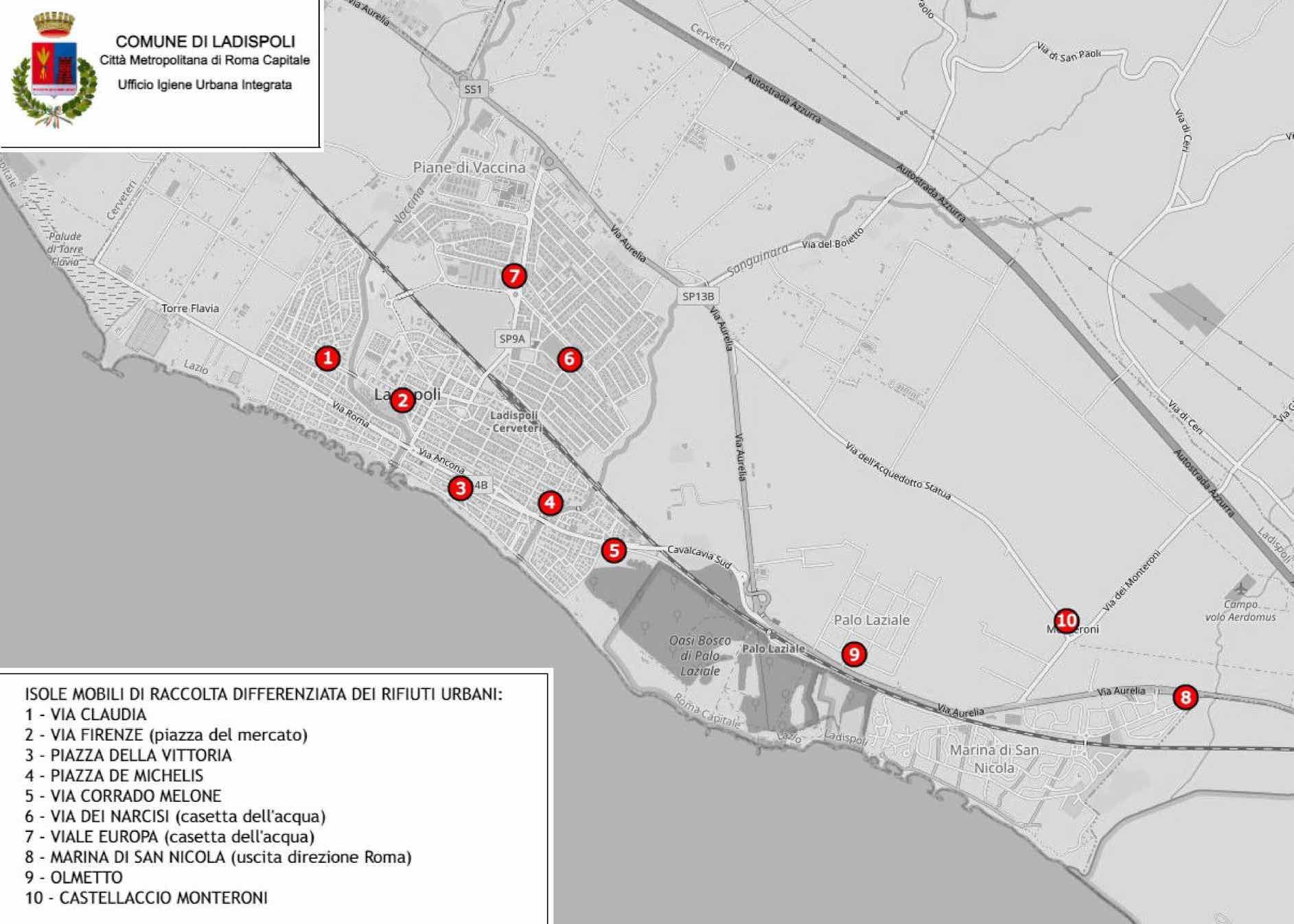 Ladispoli: isole ecologiche mobili, gli orari in vigore da ottobre 1